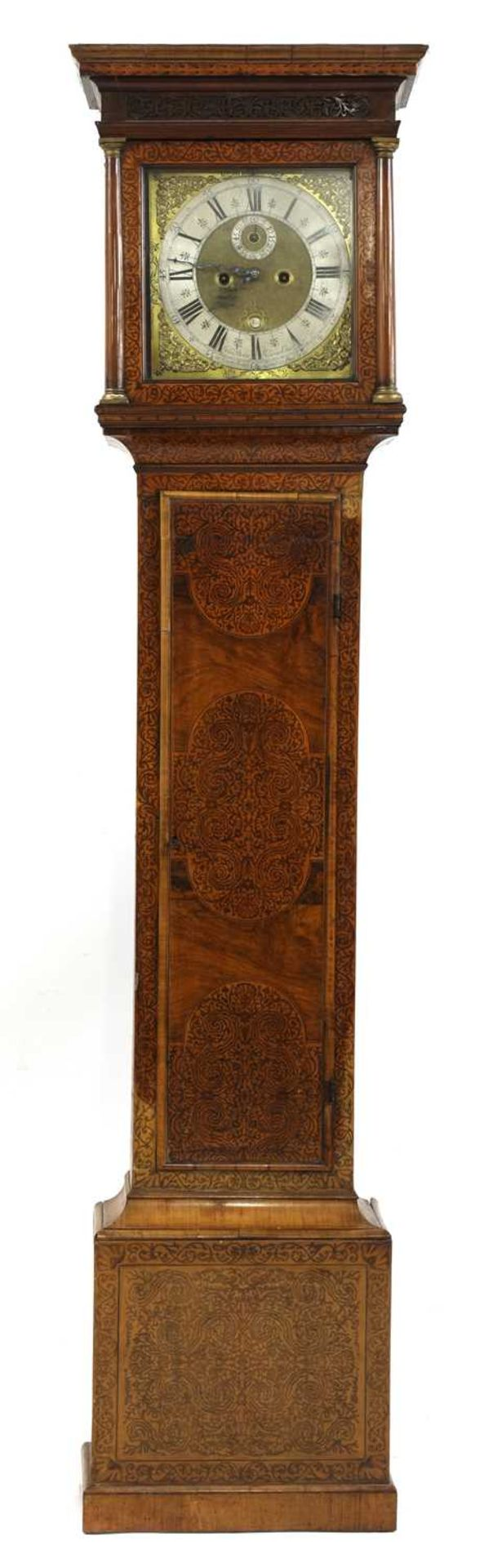 A seaweed marquetry and walnut longcase clock,