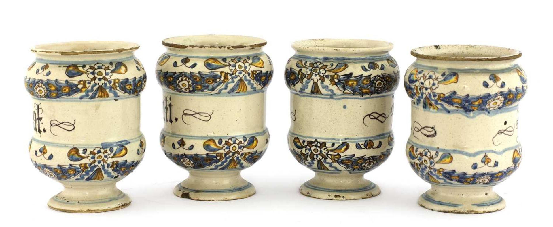 A set of four Italian majolica apothecary jars, - Image 2 of 4