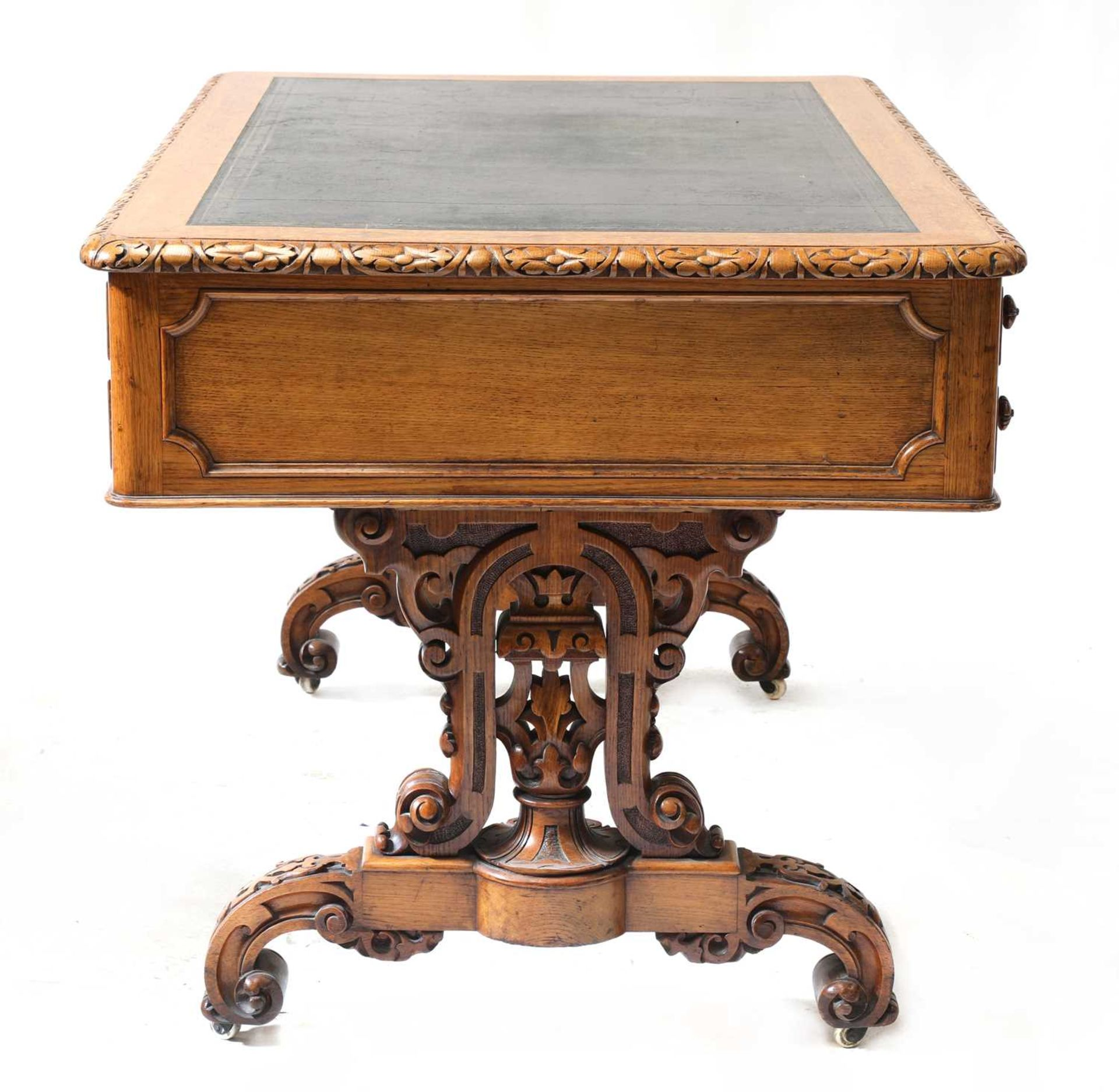 A Victorian Gothic oak library table, - Image 6 of 6