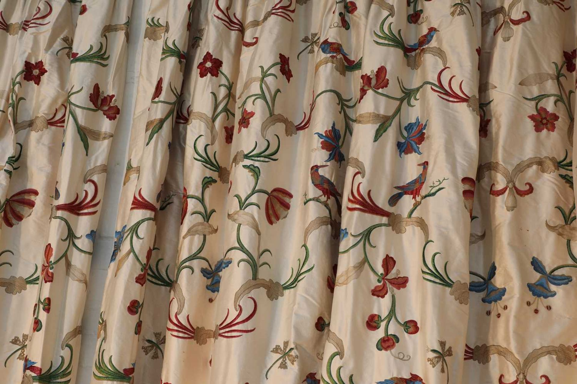 Three pairs of lined and interlined silk curtains, - Image 2 of 62