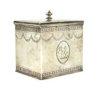 A George III silver tea caddy,
