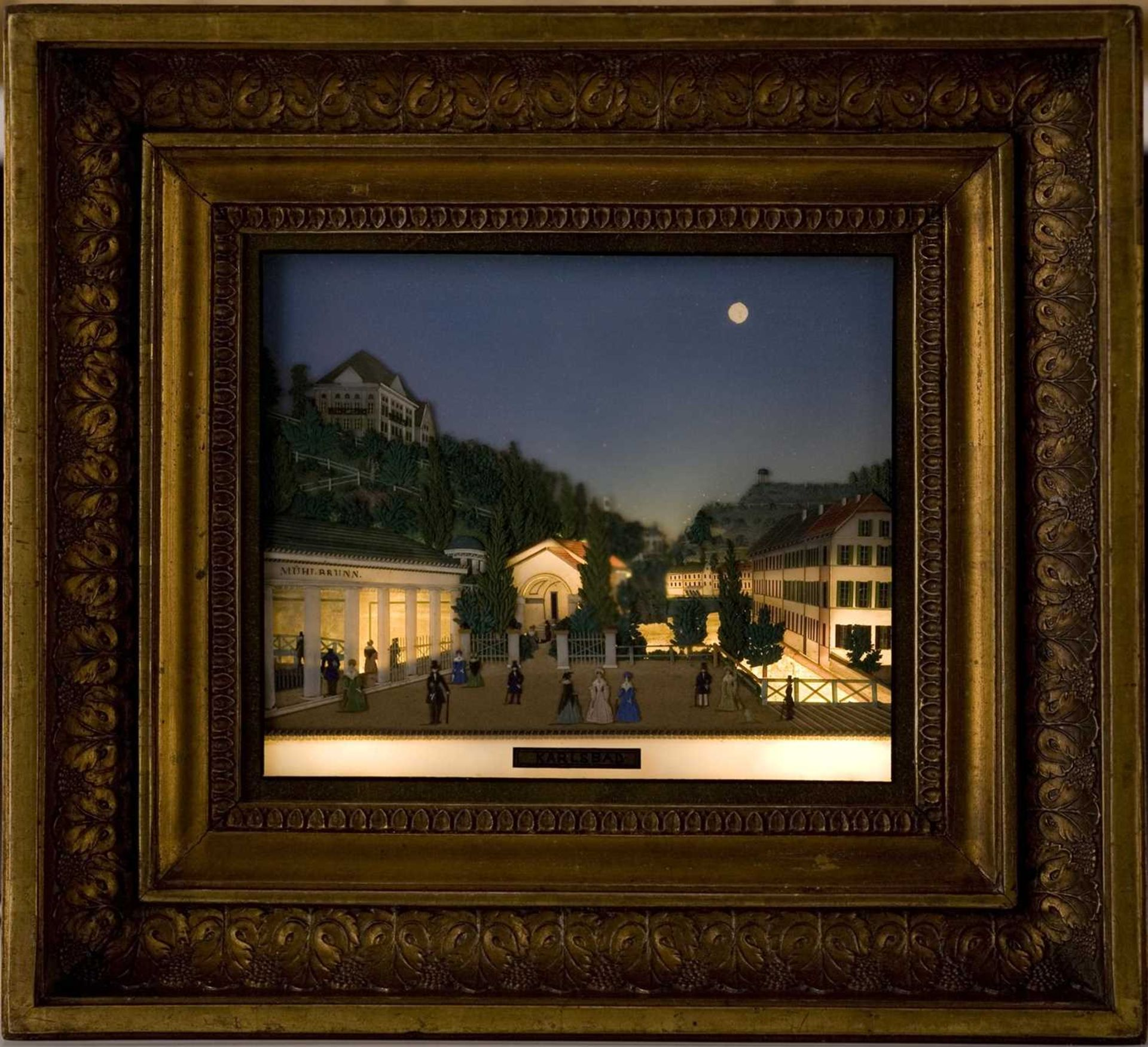 An unusual coloured glass collage titled 'Karlsbad', - Image 4 of 6