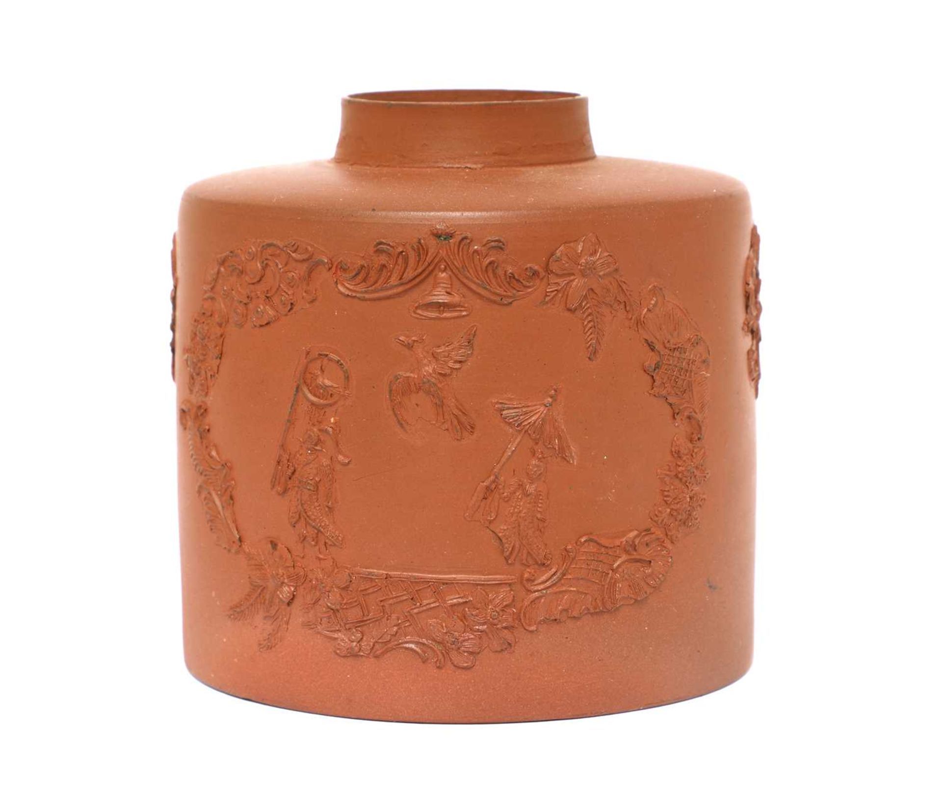 A Staffordshire redware cylindrical tea canister, - Image 2 of 3