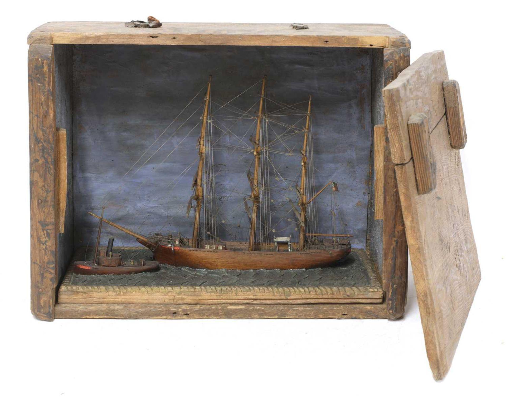 A North American scratch built, folk art, ship model,