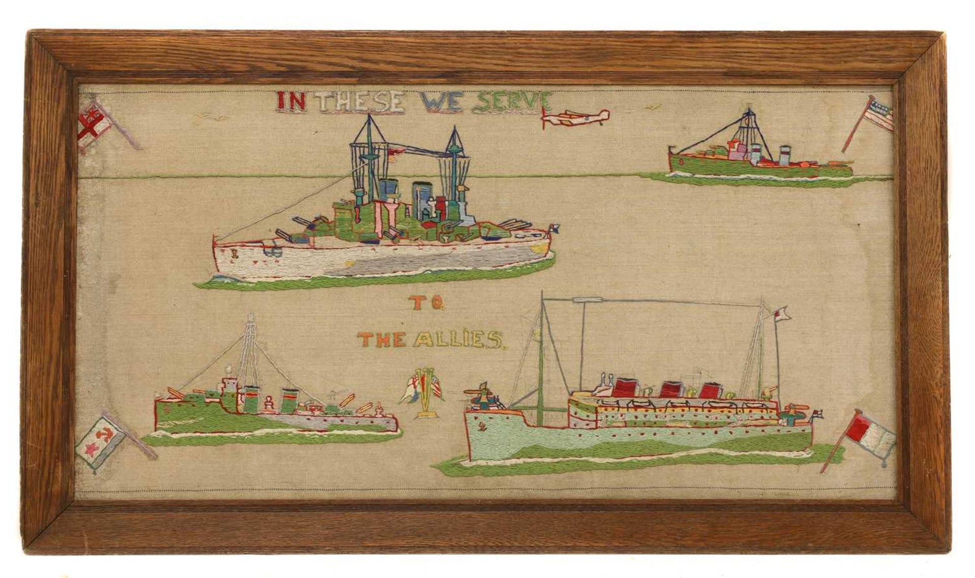 A pair of naval long stitch woolwork pictures, - Image 3 of 4