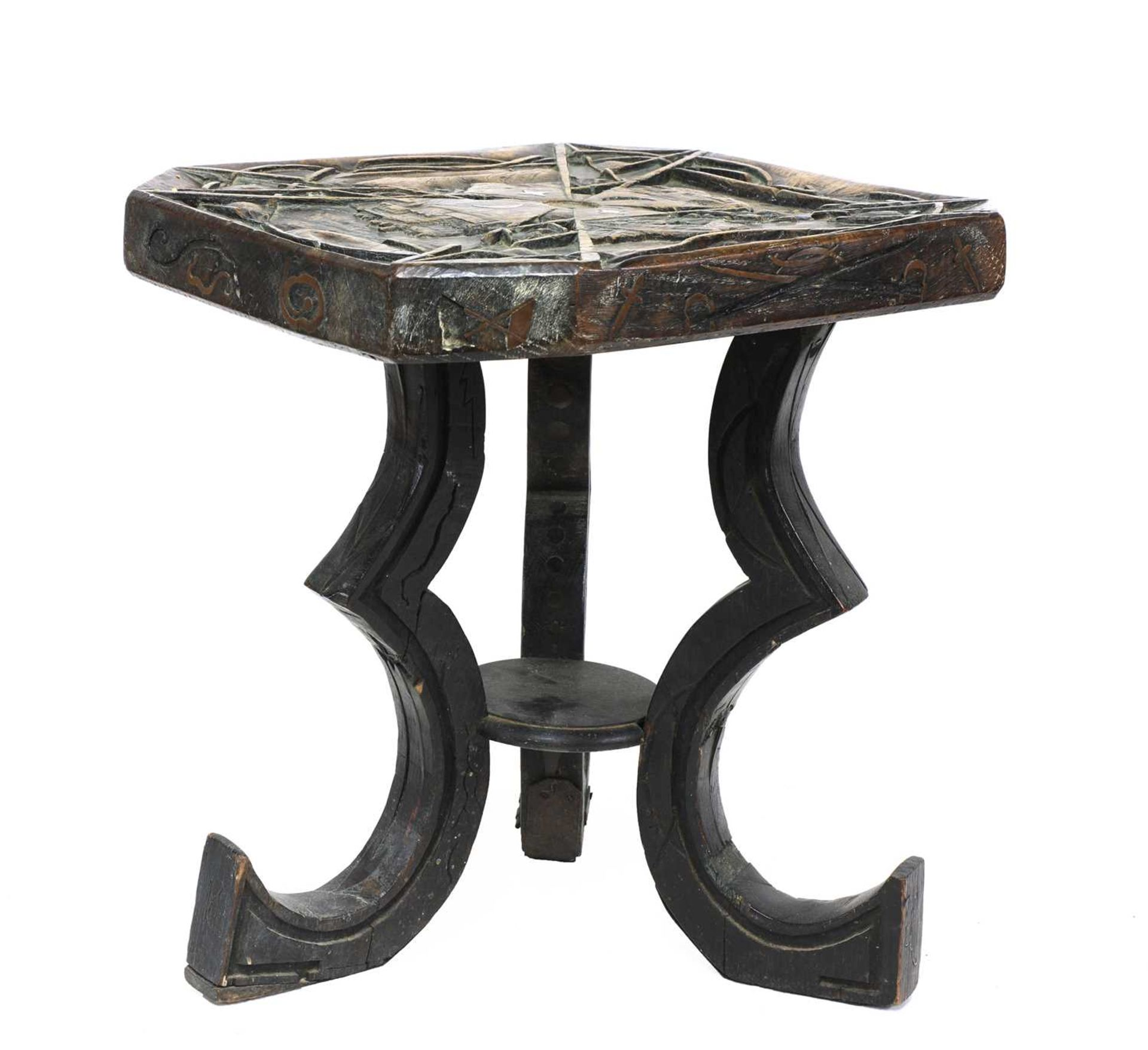 A carved and inlaid talismanic stool, - Image 6 of 6