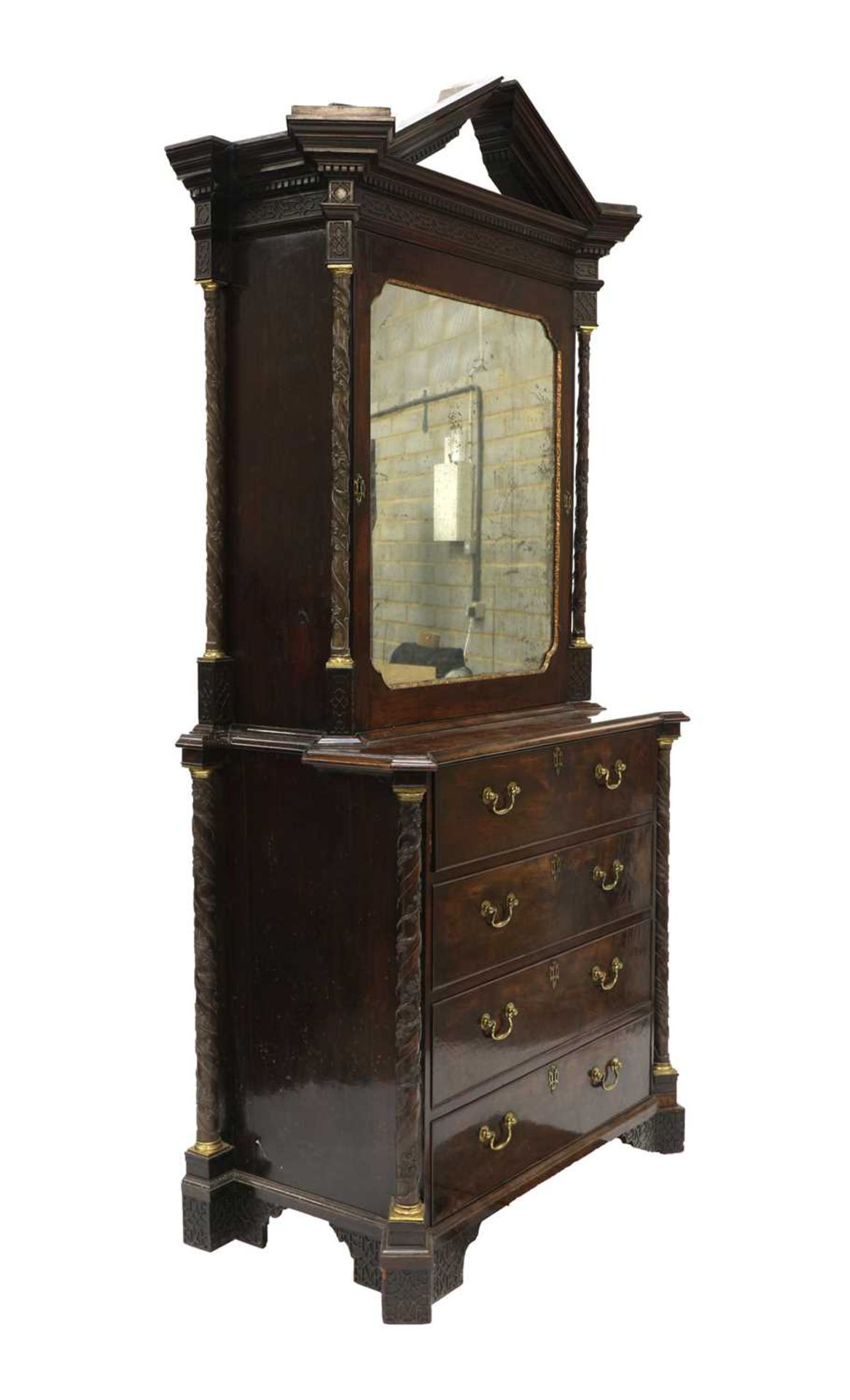 A Chippendale period mahogany secretaire bookcase, - Image 2 of 9