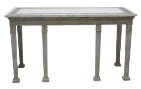 A pair of contemporary marble-topped console tables,
