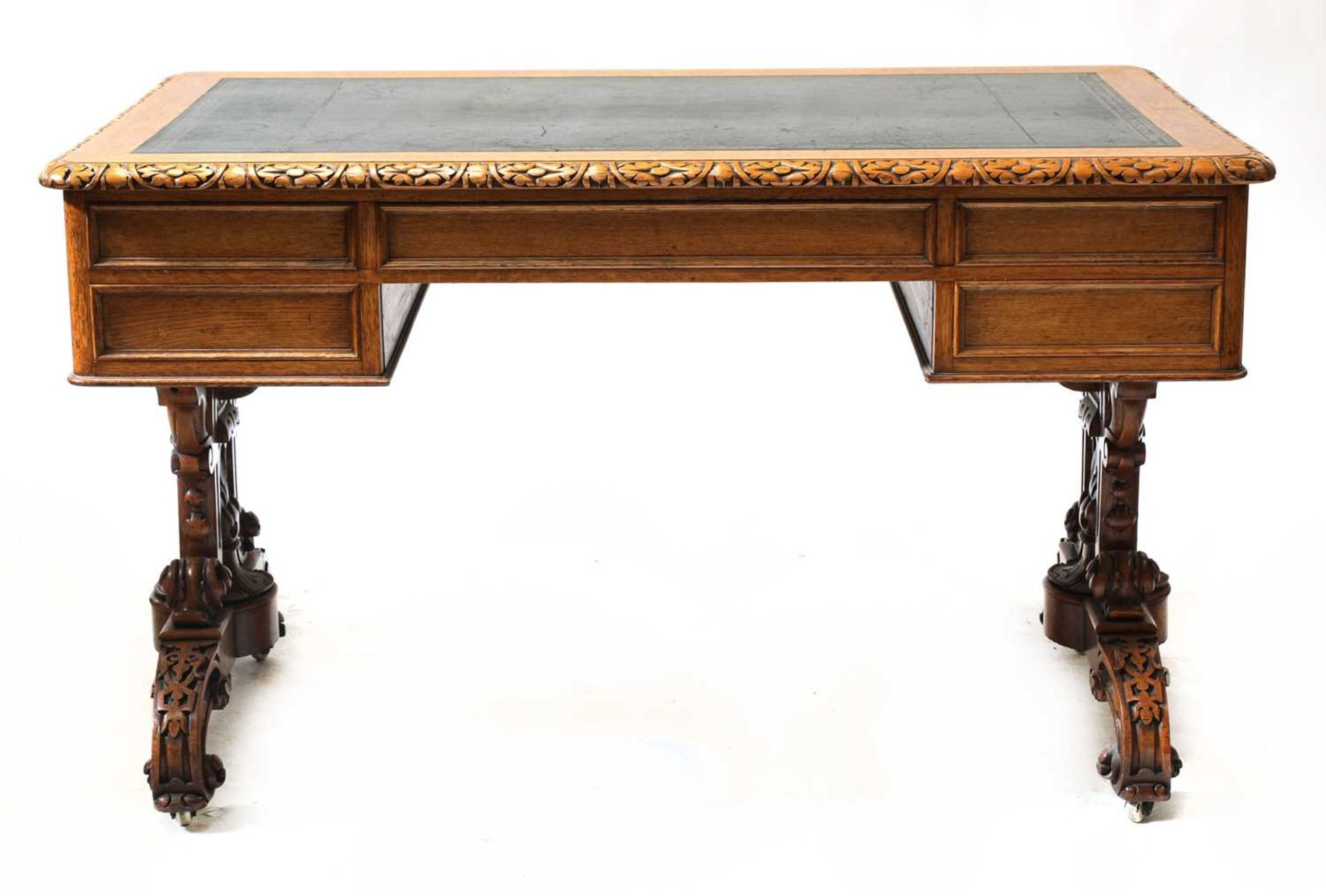 A Victorian Gothic oak library table, - Image 5 of 6