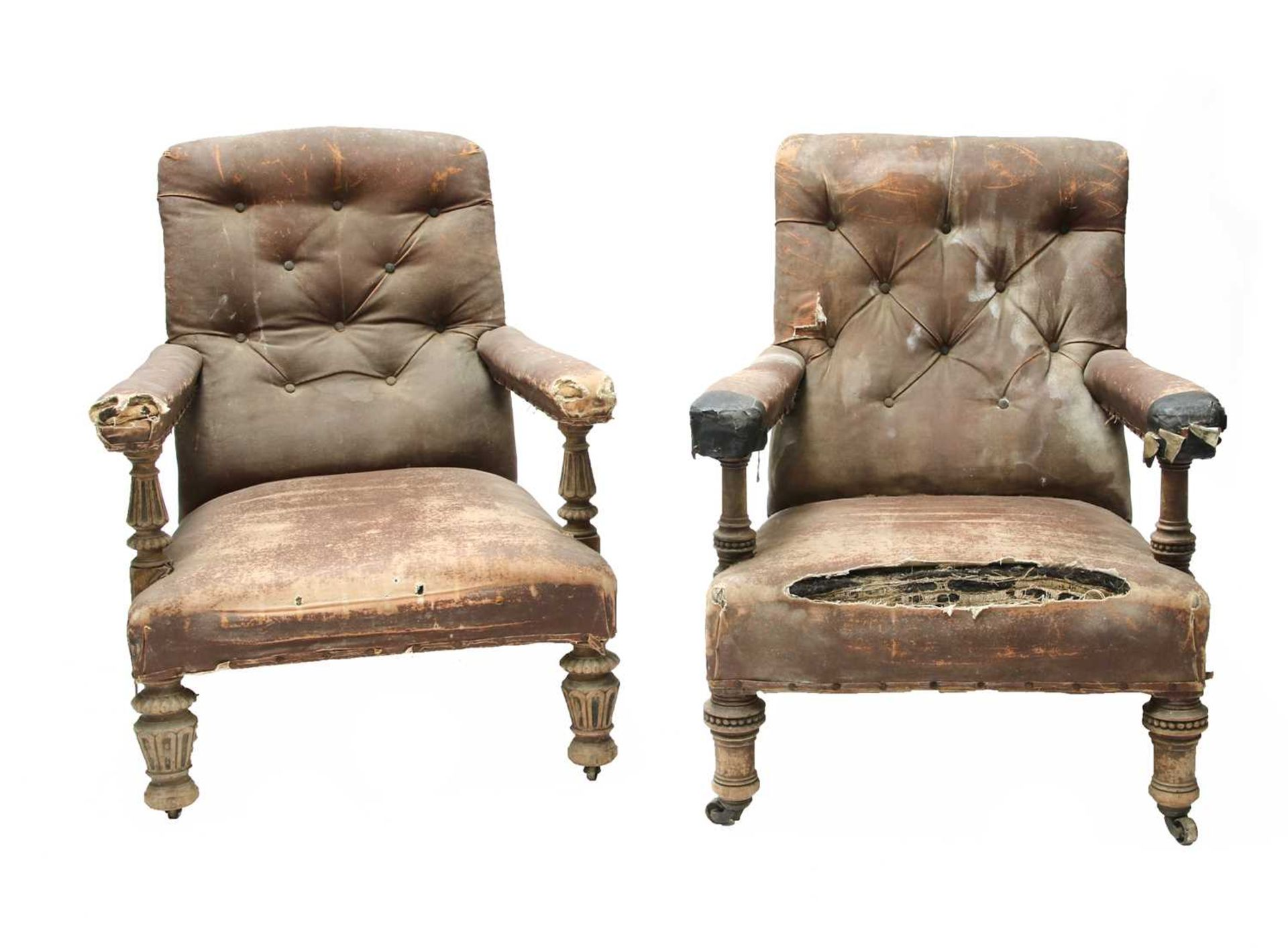 Two similar library armchairs by Gillow, - Image 2 of 7