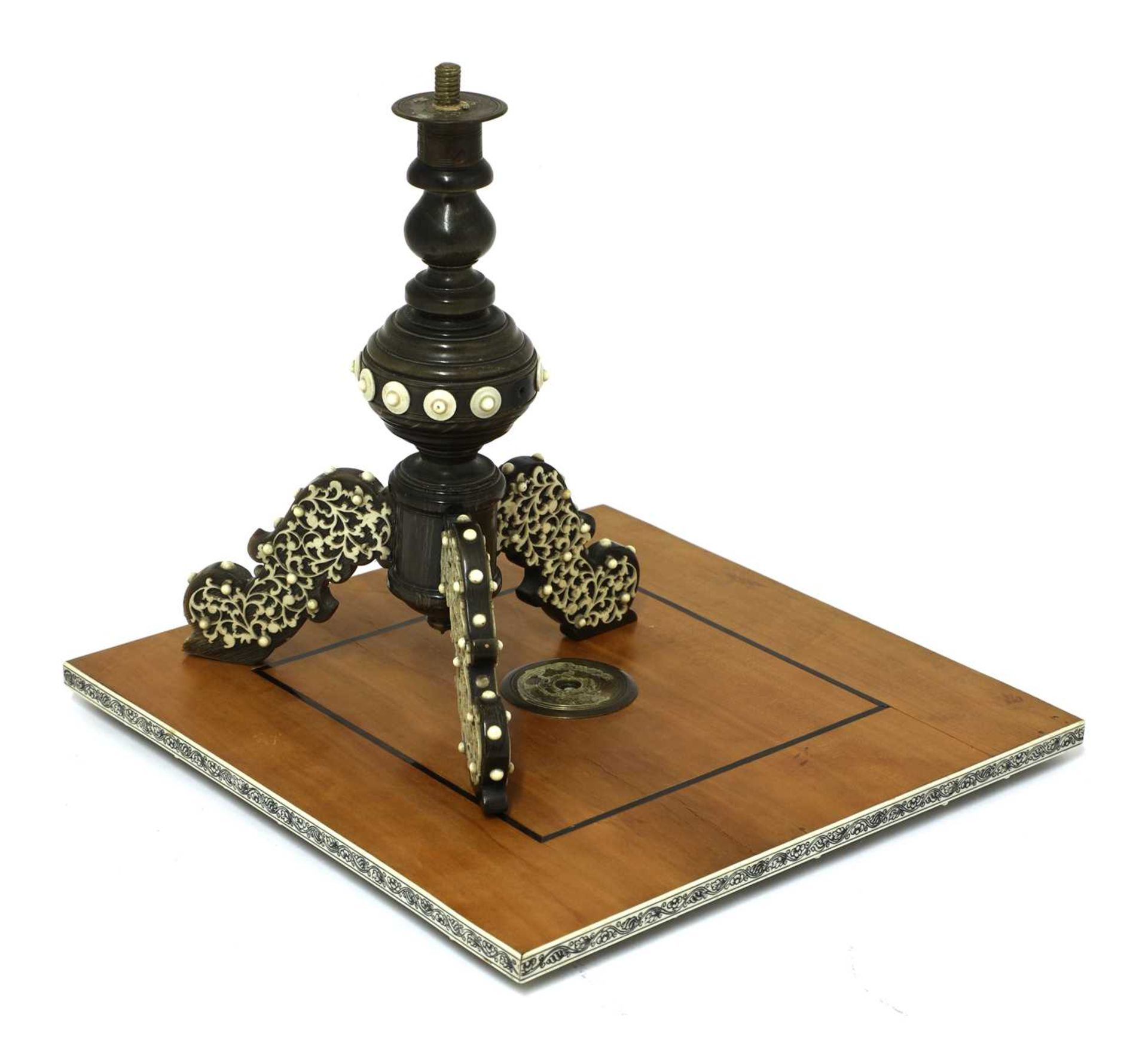An Anglo-Indian ivory, horn and sandalwood miniature games table, - Image 4 of 4