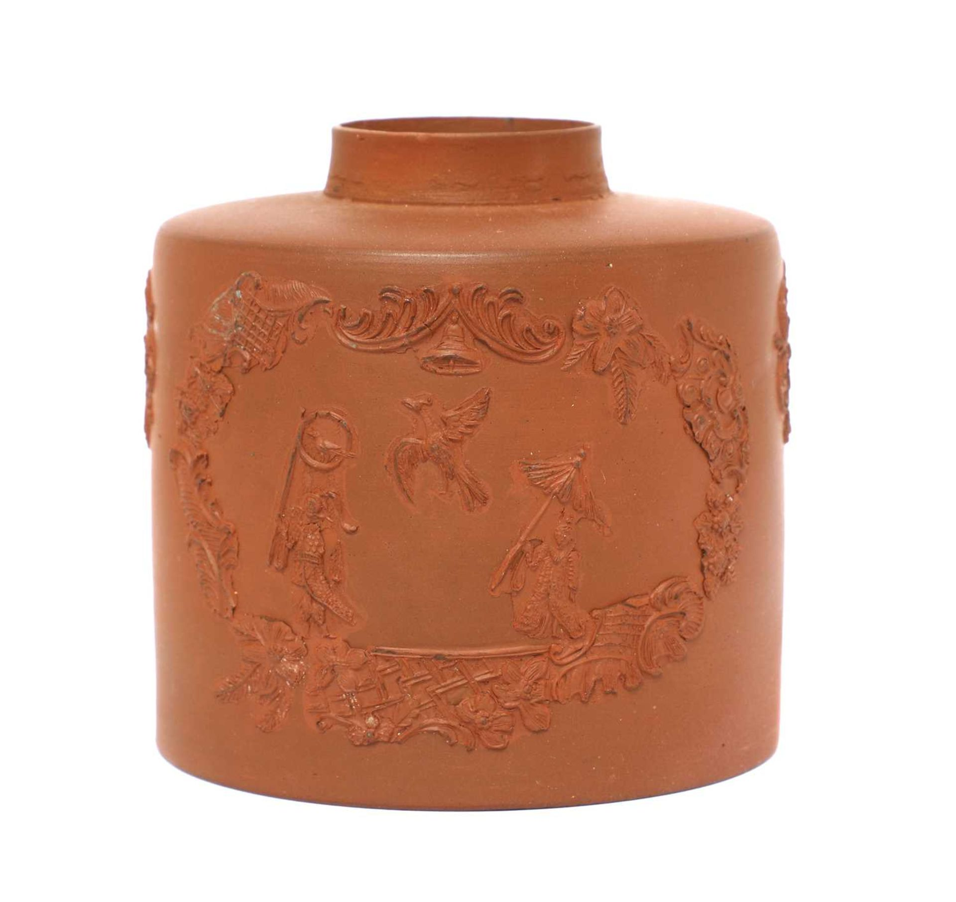 A Staffordshire redware cylindrical tea canister,