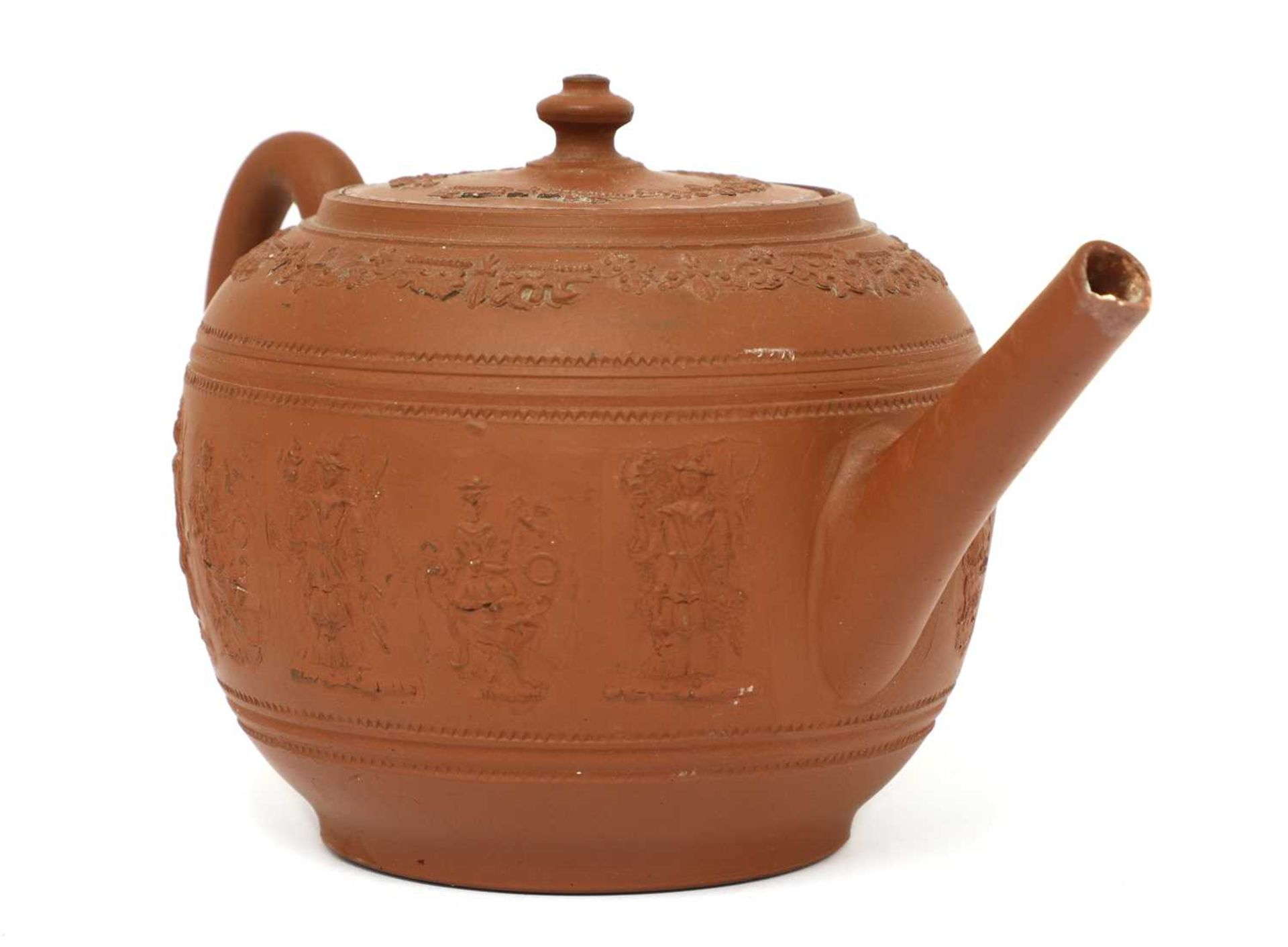 A Staffordshire redware globular teapot and cover, - Image 3 of 4