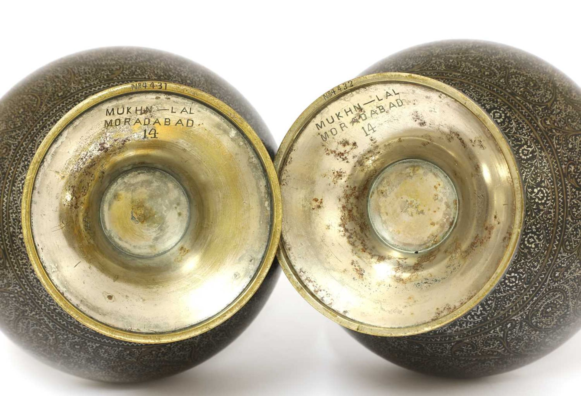 A pair of Bidriware bottle vases, - Image 3 of 20