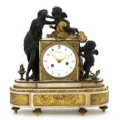 A French bronze and marble mantel clock,