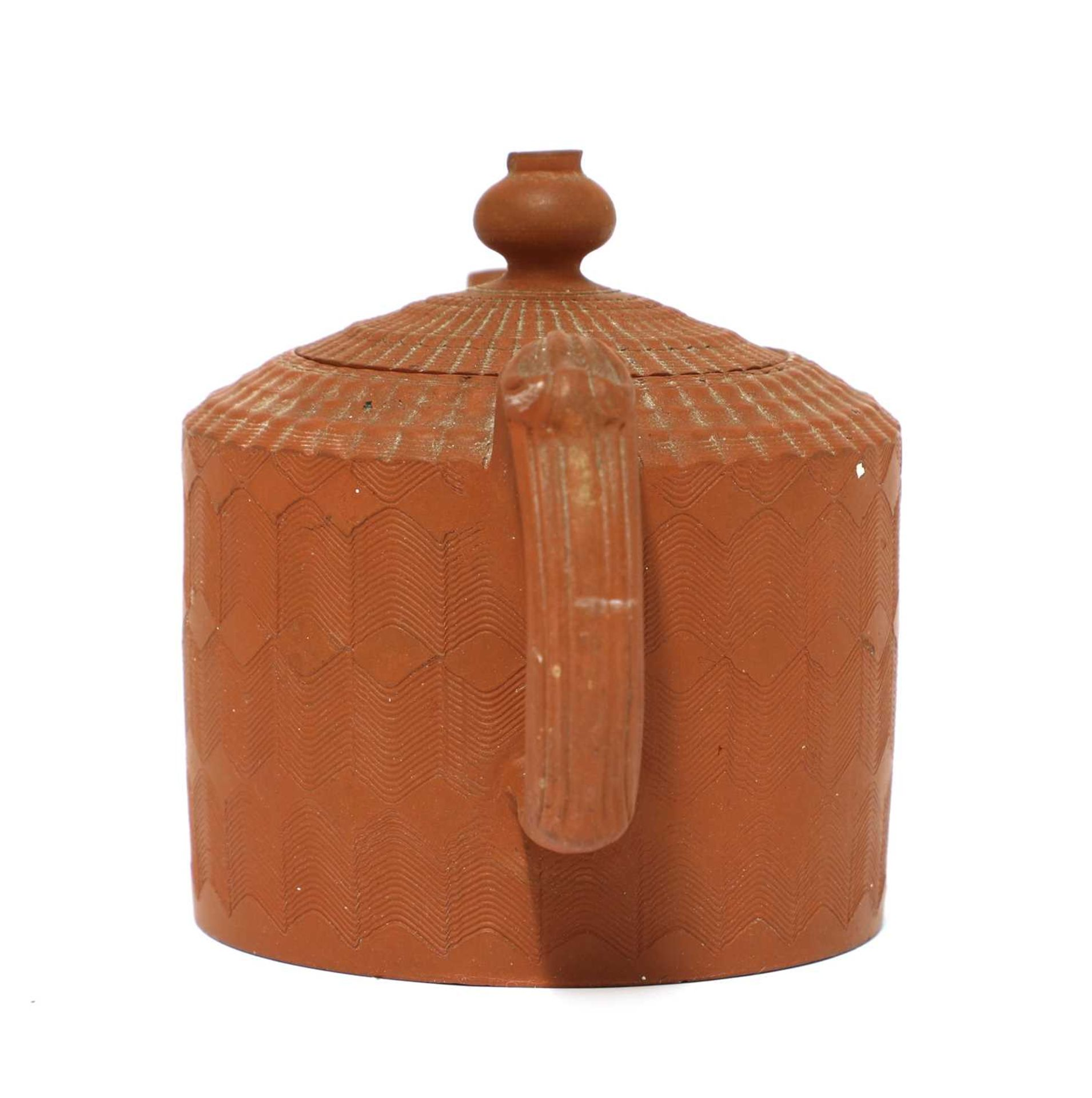 A Staffordshire redware miniature cylindrical teapot and cover, - Image 2 of 4