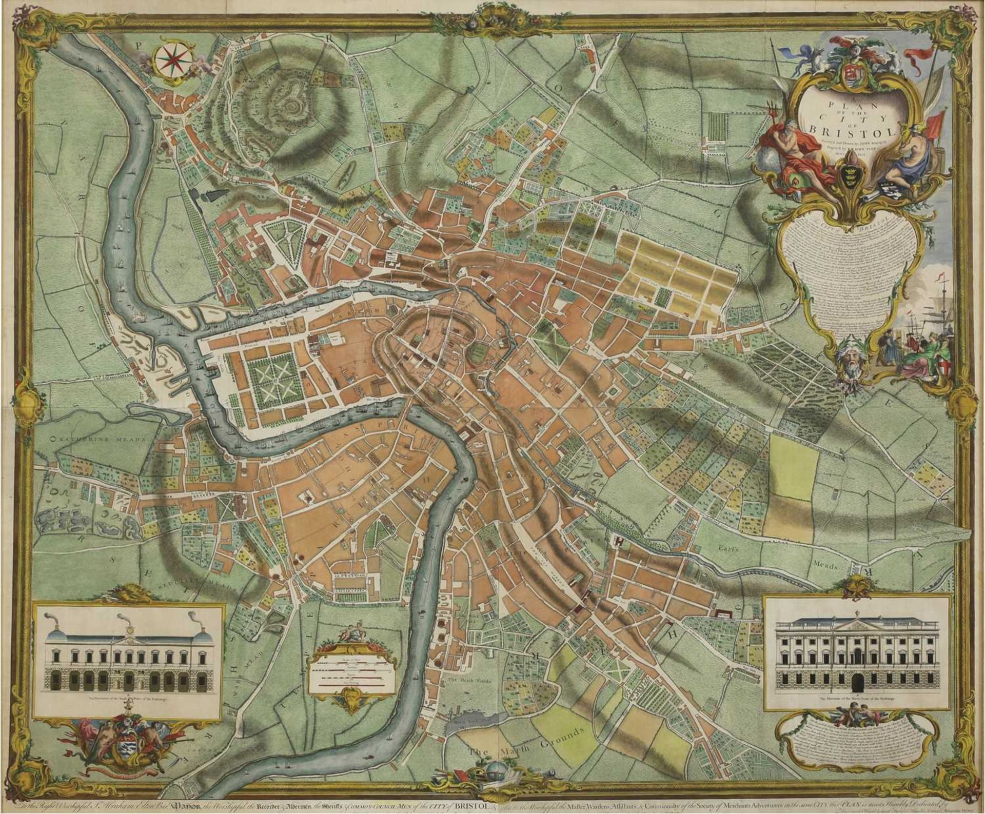 'A Plan of The City of Bristol, survey'd and drawn by John Rocque, engraved by John Pine 1742', - Image 2 of 3