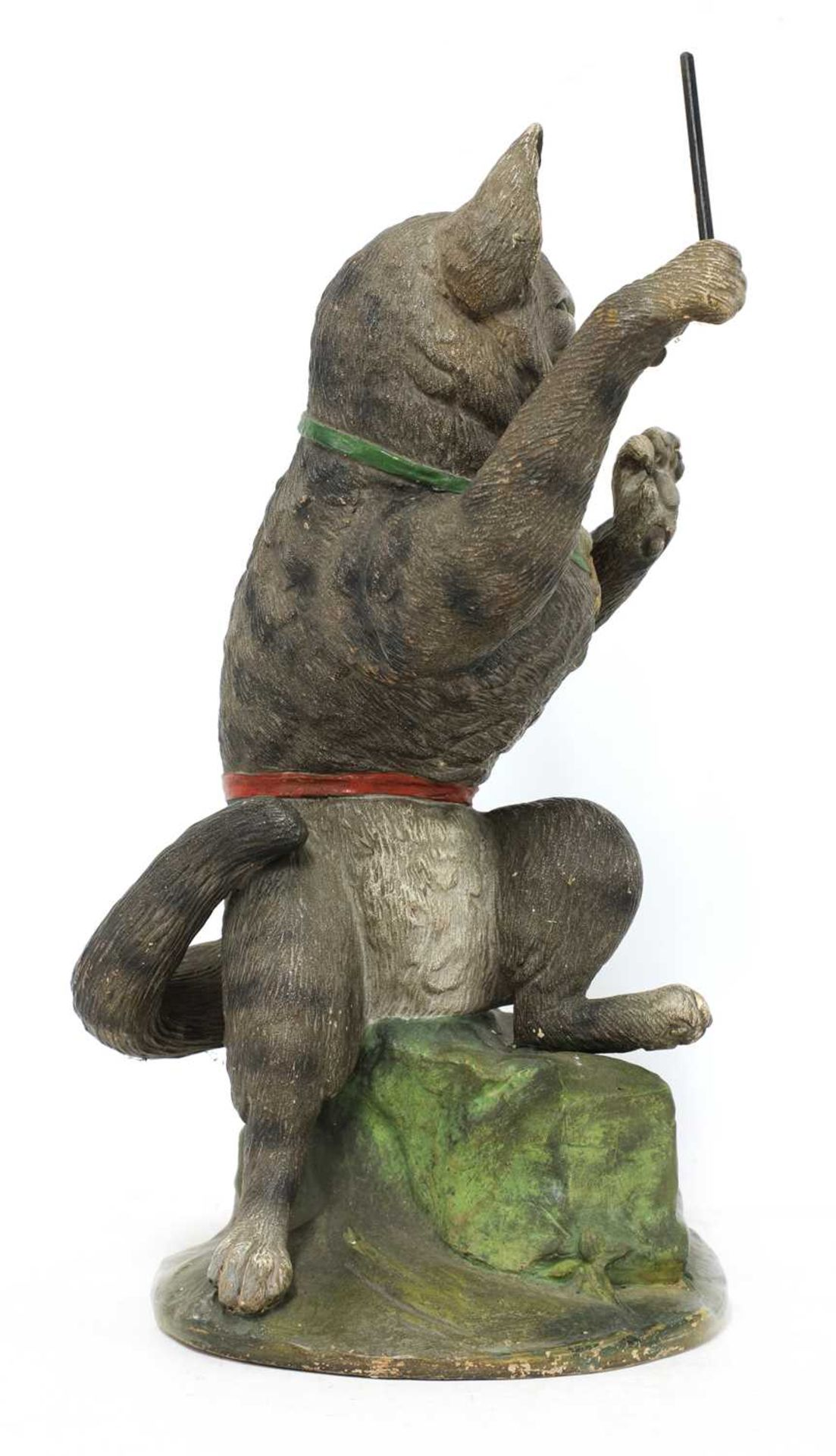 A French painted terracotta figure of a cat conductor, - Image 2 of 4
