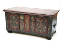 A Continental painted pine coffer,