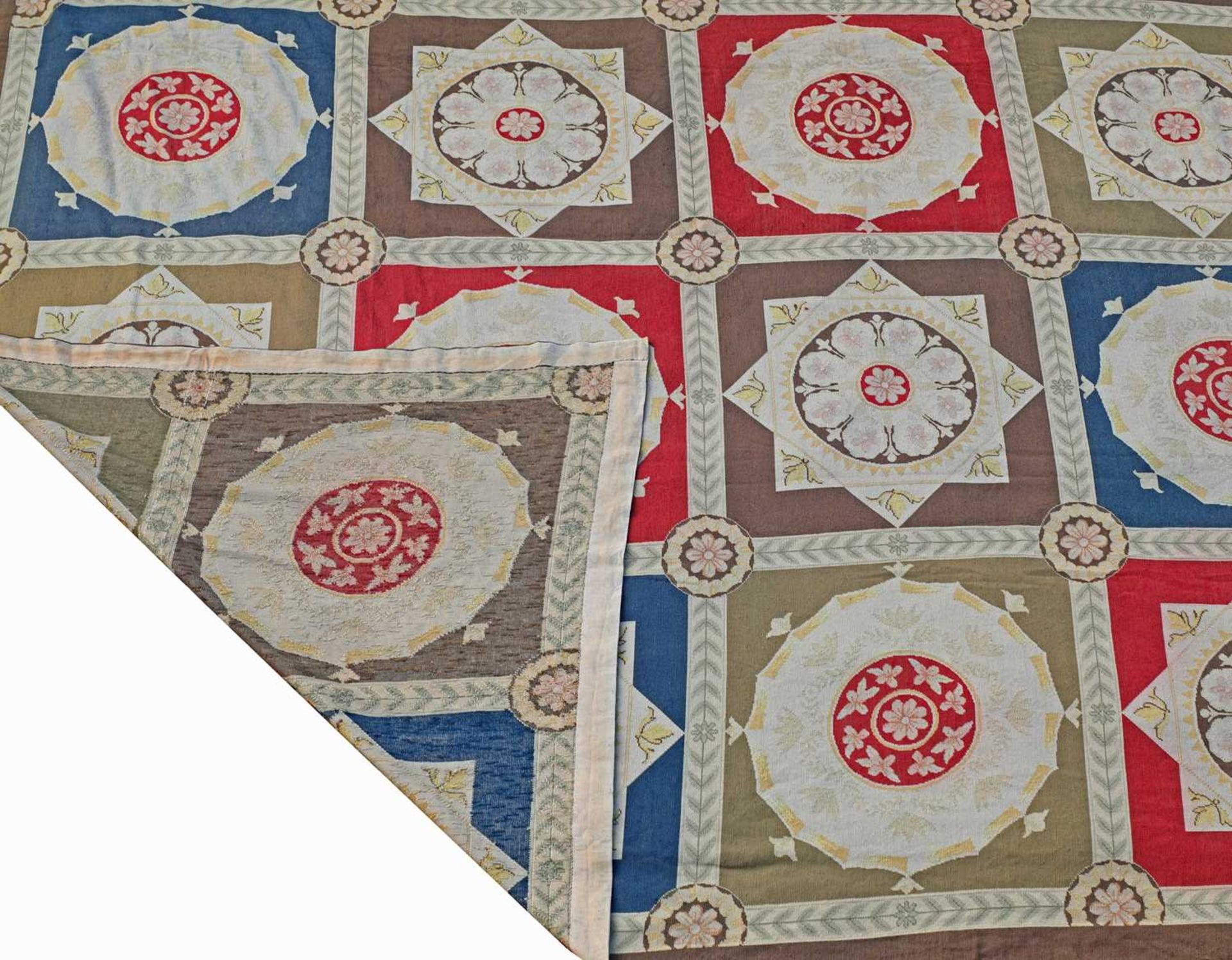 A handwoven needlepoint rug of 17th century Savonnerie design, - Image 3 of 3