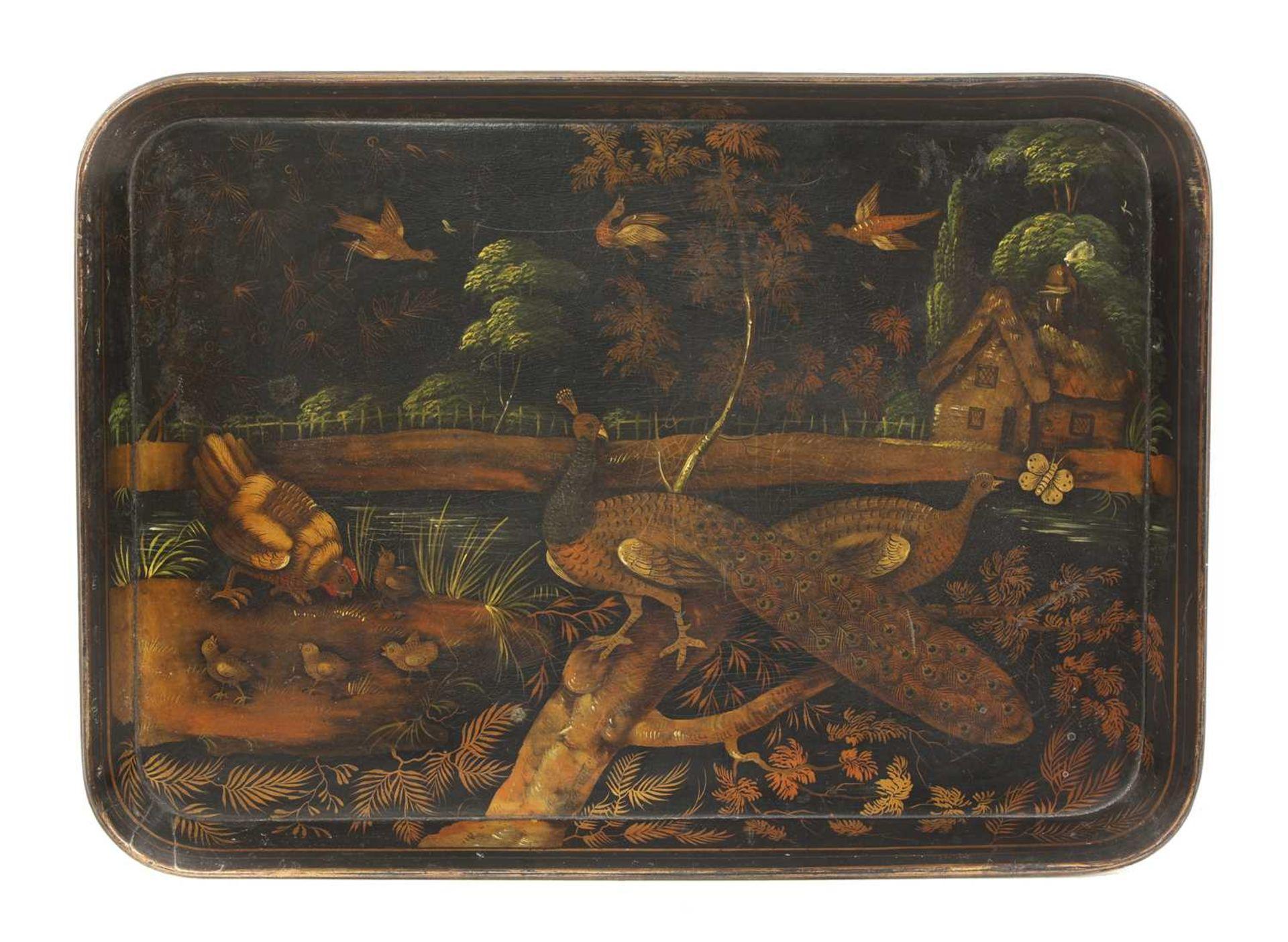 A Regency papier mâché lacquer tray,