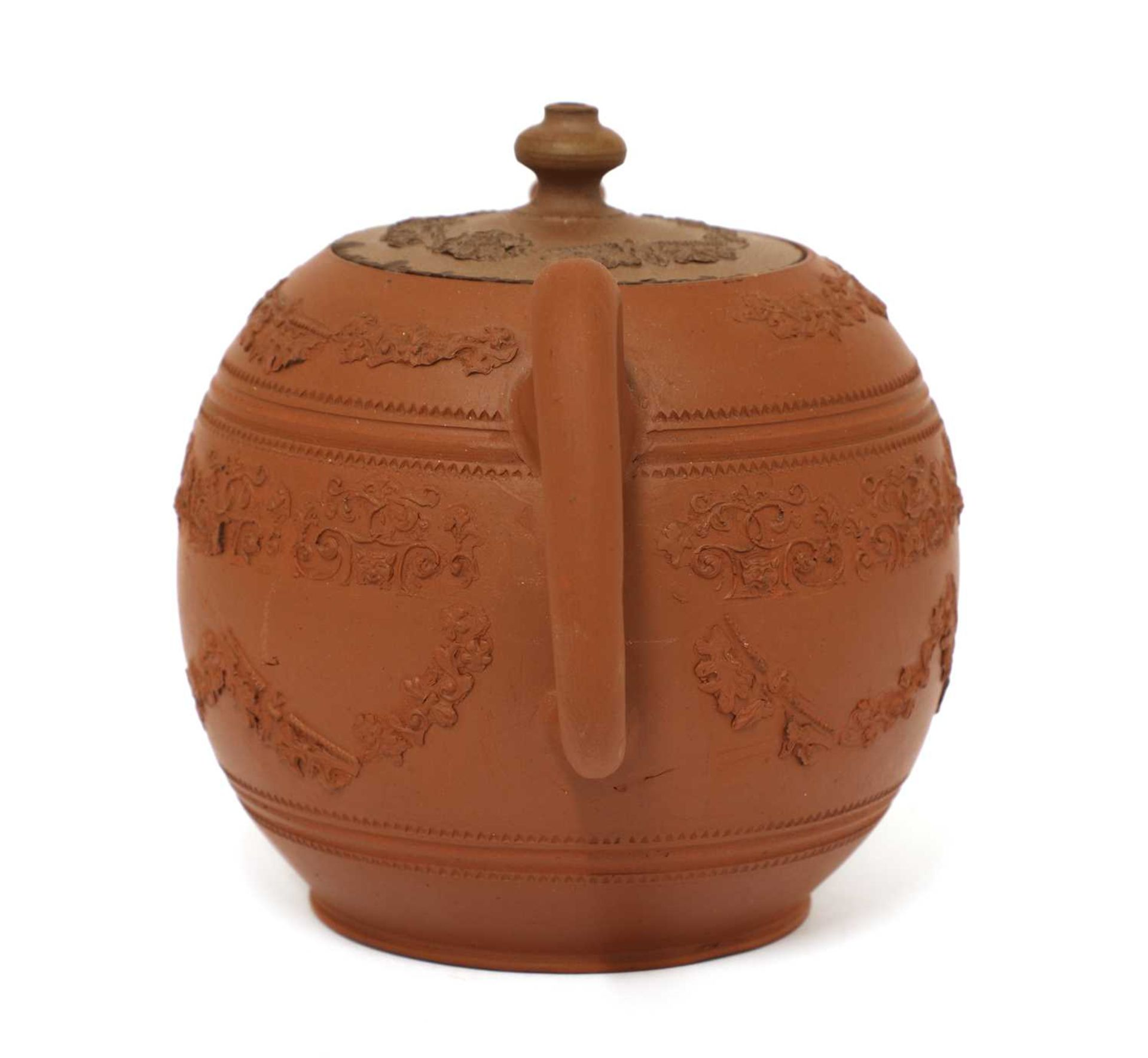 A Staffordshire redware globular teapot and cover, - Image 2 of 4