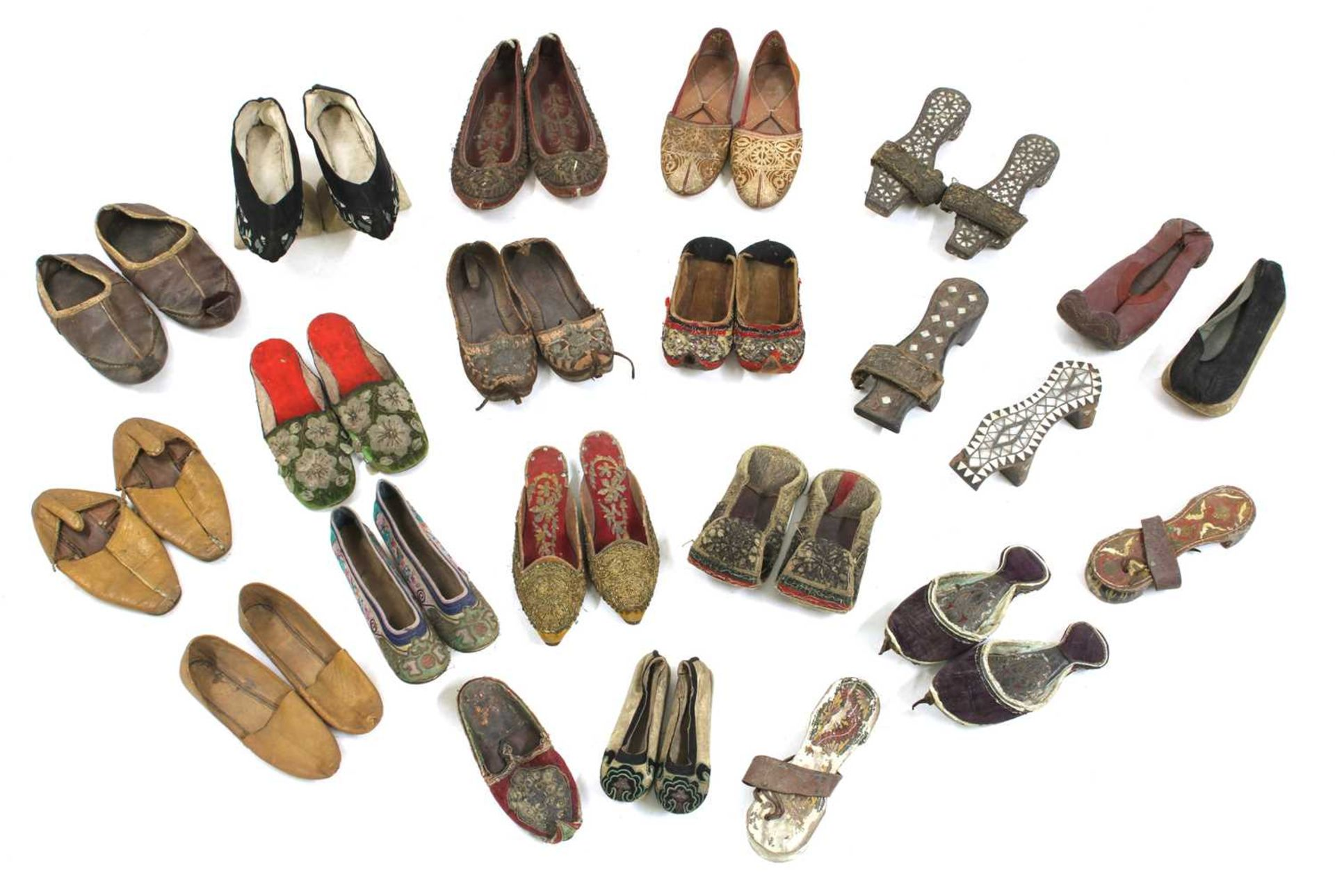 A collection of Asian shoes,