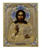 A parcel-gilt and cloisonné enamel icon of Christ Pantocrator,