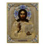 A parcel-gilt and cloisonné enamel icon of Christ Pantocrator,