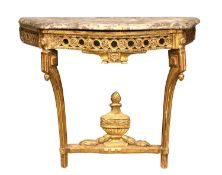 A French giltwood serpentine console table,