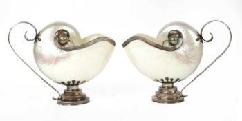 A pair of Tiffany sterling silver-mounted shell ewers,
