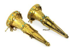 A pair of Victorian silver gilt ecclesiastical posy vases,