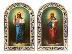 A pair of silver gilt and enamel wedding icons of the Mother of God and Christ Pantocrator,