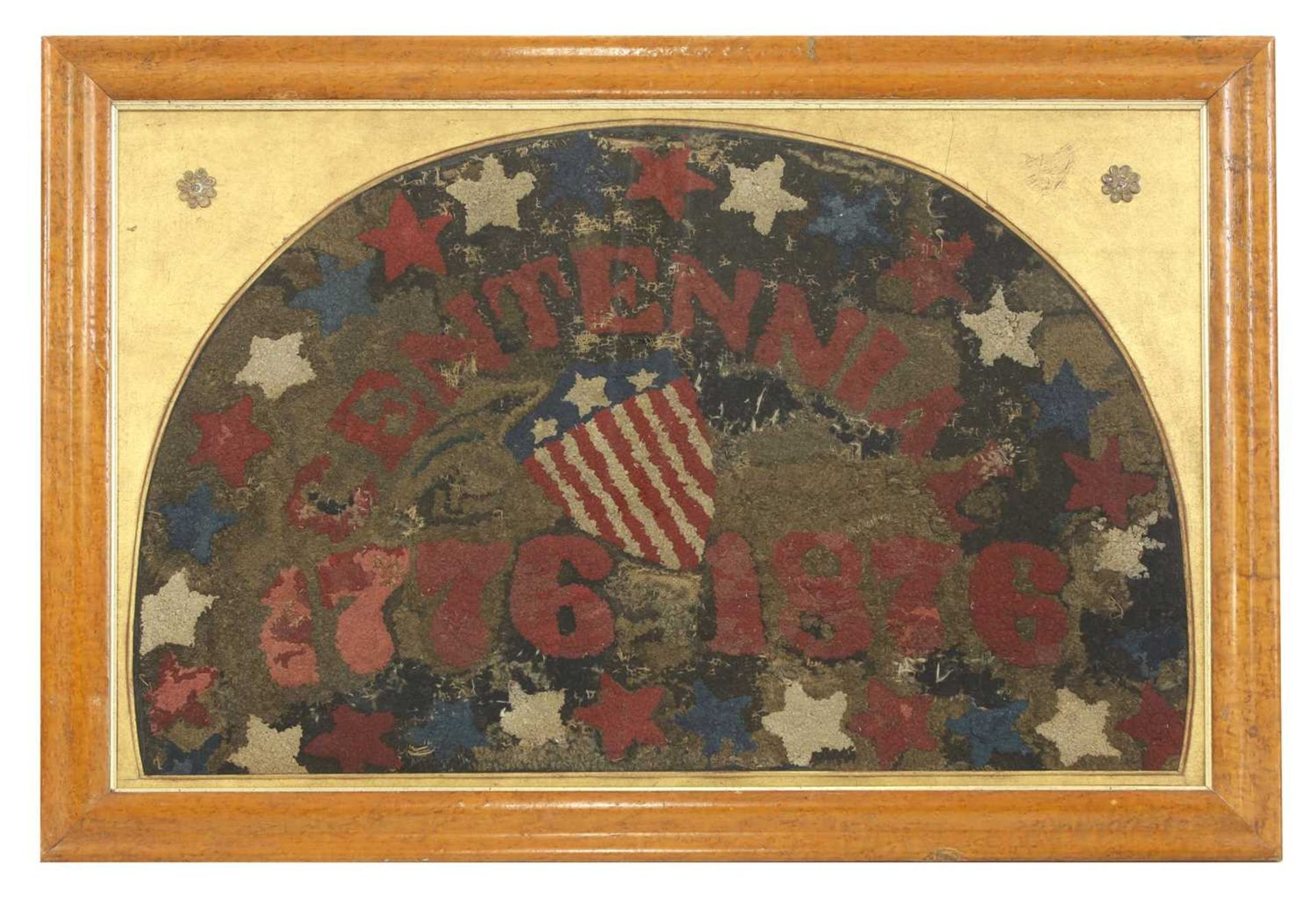 An unusual North American centennial hook rug,