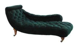 A Victorian scroll-framed chaise longue,