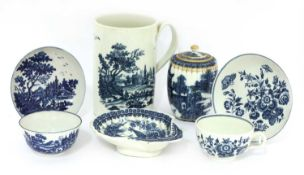 A Worcester blue and white mug,