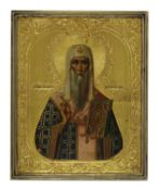 A framed icon of St Alexei, Metropolitan of Moscow,