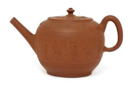 A Staffordshire redware globular teapot and cover,
