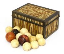 A Ceylonese porcupine quill box and cover,