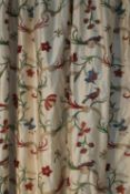 Three pairs of lined and interlined silk curtains,