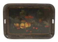 A toleware painted galleried tray,