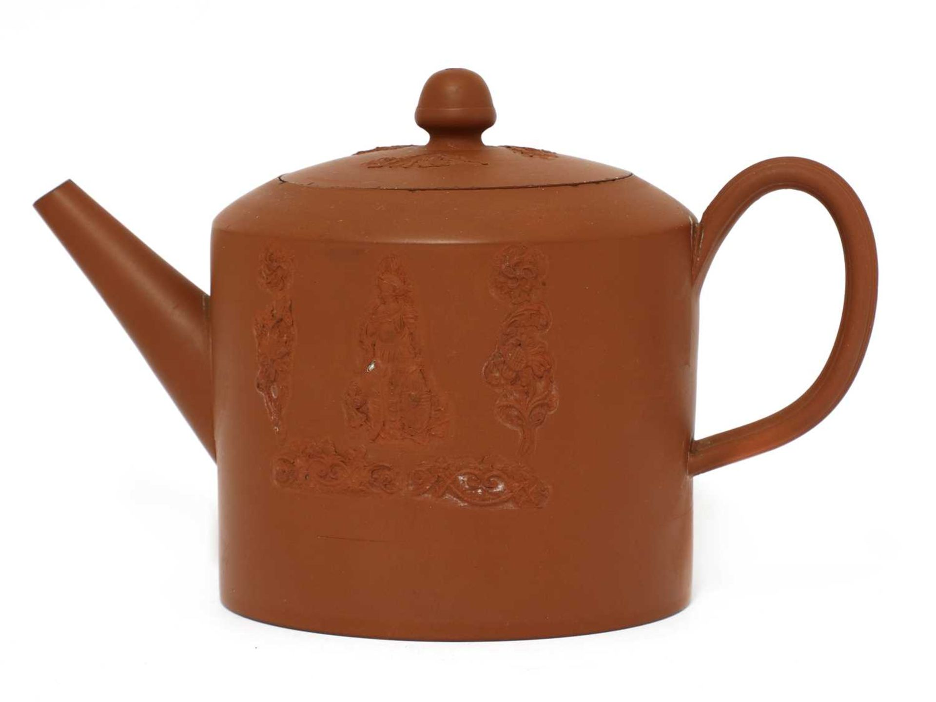 A Staffordshire redware cylindrical teapot and cover, - Image 2 of 4