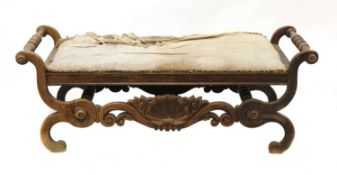 A Continental simulated rosewood window seat,