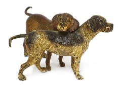 A Vienna cold-painted bronze group of two foxhounds,