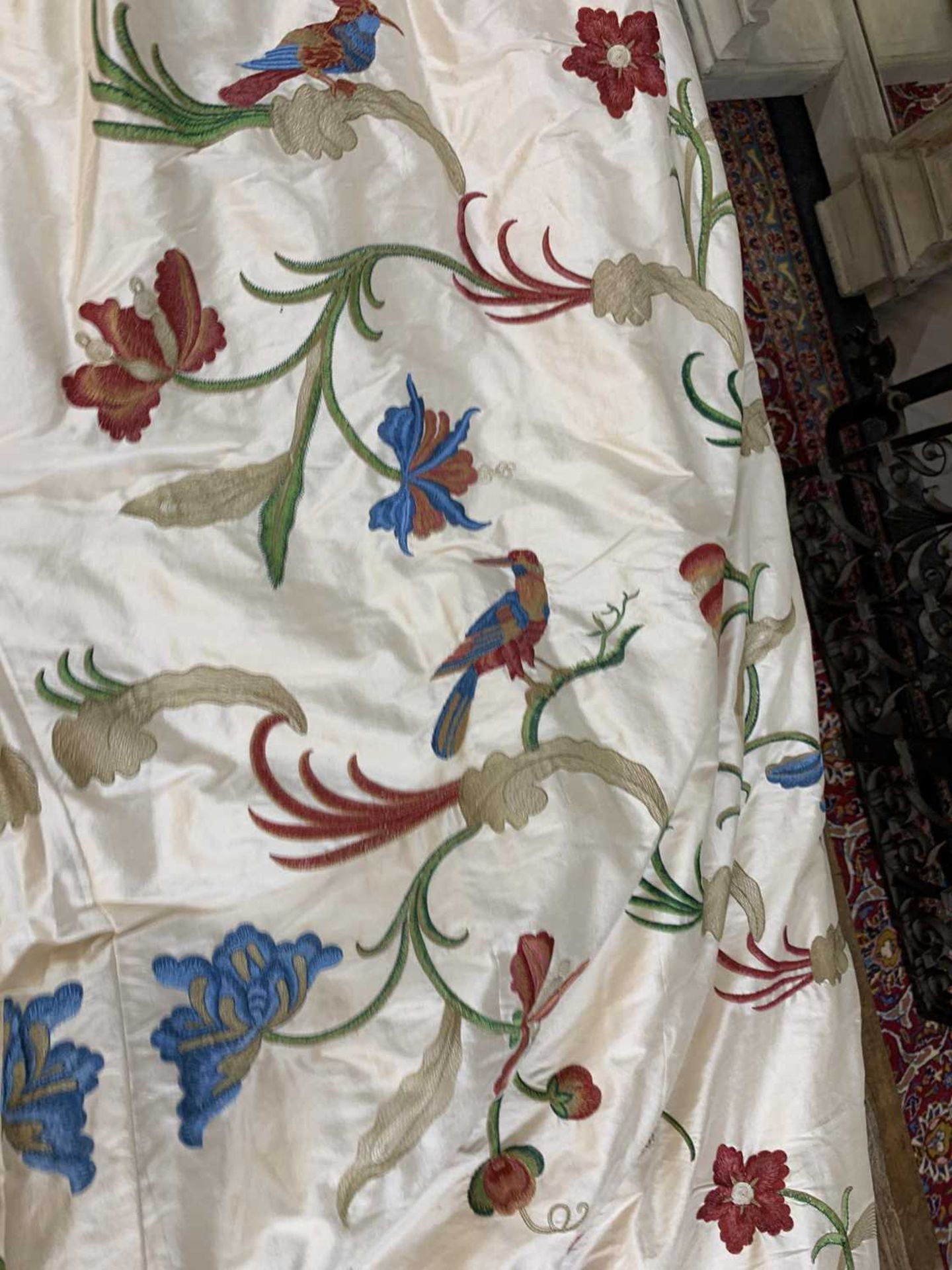 Three pairs of lined and interlined silk curtains, - Image 39 of 62