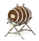 A simulated oak and silver-plated spirit waggon,