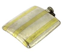 An American Prohibition sterling silver and gold inlay hip flask,