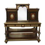 An ebony amboyna gilt-bronze and porcelain-mounted side cabinet,