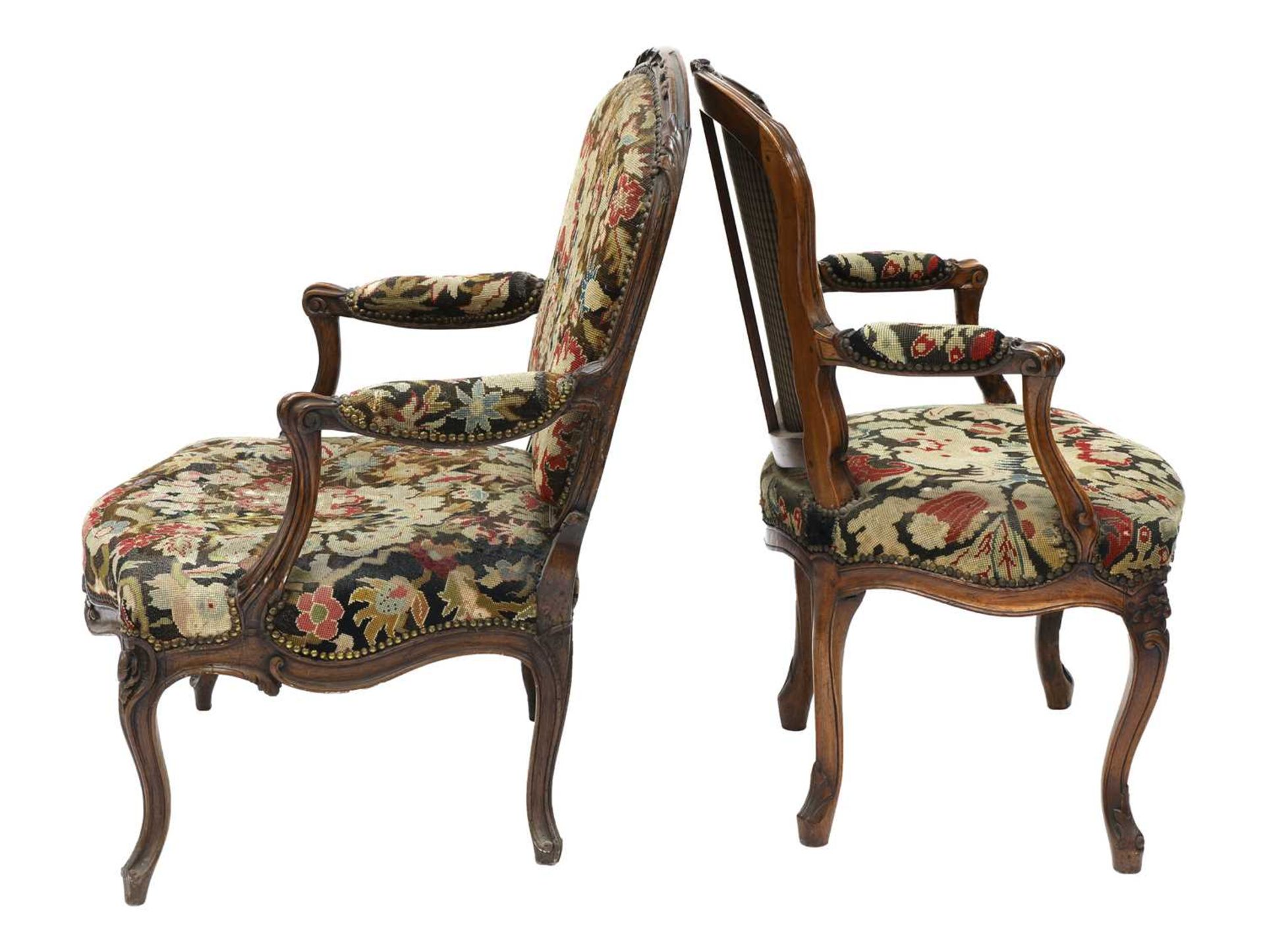 A French walnut-framed armchair, - Image 2 of 4