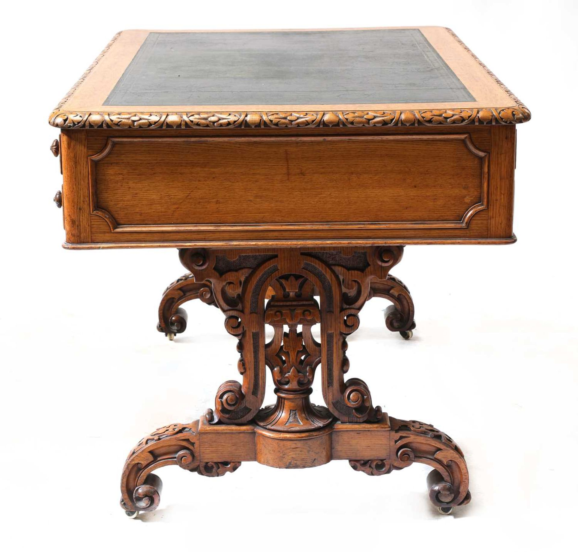 A Victorian Gothic oak library table, - Image 3 of 6